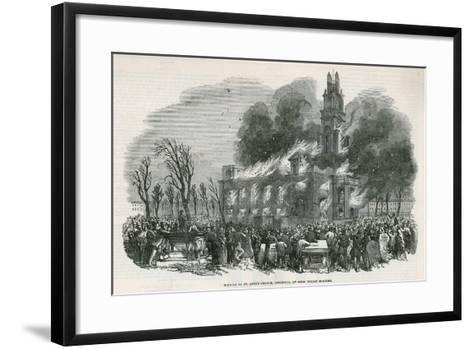 The Burning of St Anne's Church in Limehouse--Framed Art Print