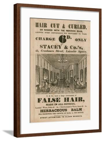 Advert for Stacey and Co.'s, 45 Cranbourne Street, Leicester Square, London, Hair Dressers--Framed Art Print