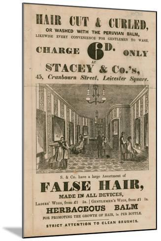 Advert for Stacey and Co.'s, 45 Cranbourne Street, Leicester Square, London, Hair Dressers--Mounted Giclee Print