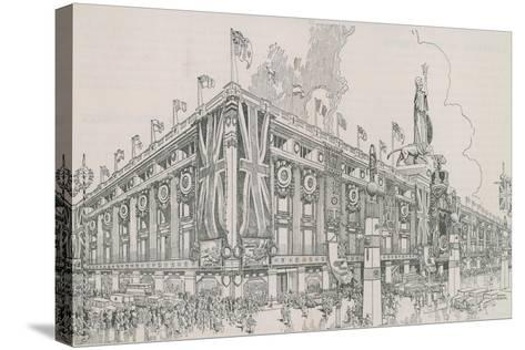 Union Jack Flags Flying from Selfridge's Department Store-English Photographer-Stretched Canvas Print