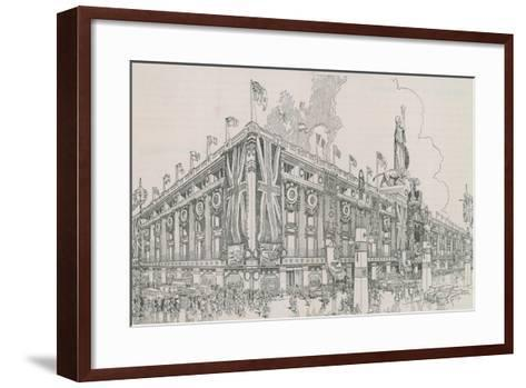 Union Jack Flags Flying from Selfridge's Department Store-English Photographer-Framed Art Print