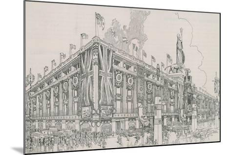 Union Jack Flags Flying from Selfridge's Department Store-English Photographer-Mounted Giclee Print