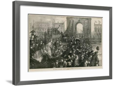 The Oxford and Cambridge Boat Race: Hammersmith Bridge on Race Day-Matthew White Ridley-Framed Art Print