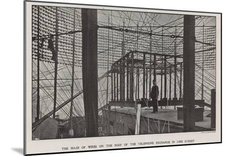 The Maze of Wires on the Roof of the Telephone Exchange in Lime Street--Mounted Photographic Print