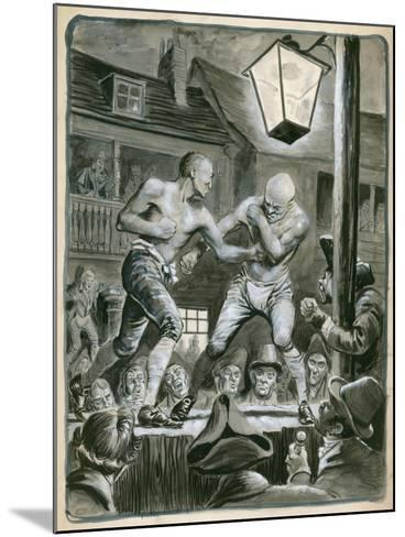 Street Bare Knuckle Fight-Peter Jackson-Mounted Giclee Print