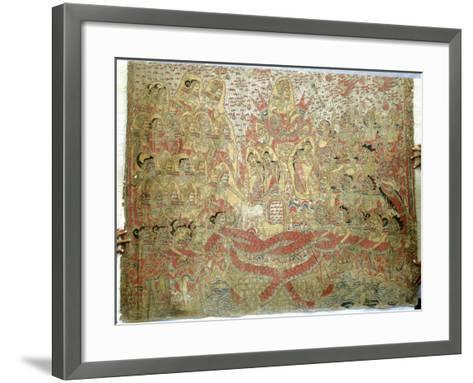 Cloth Painting, Probably Used as Curtains Beside a Temple Couch--Framed Art Print