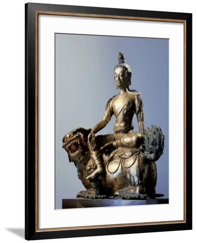 A Statue of Simhanada, Voice of a Lion, Sitting on the Back of a Roaring Lion--Framed Art Print