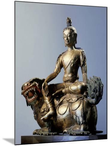 A Statue of Simhanada, Voice of a Lion, Sitting on the Back of a Roaring Lion--Mounted Giclee Print