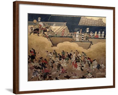 Detail of Part of a Folding Screen Which Depicts the Siege of Osaka Castle (1615)--Framed Art Print
