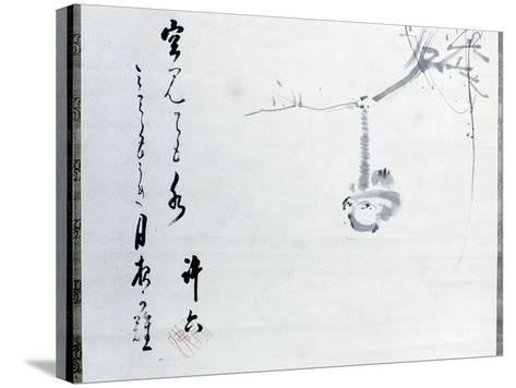 Calligraphy by Matsuo Basho, Revered as the Greatest of the Haiku Poets, with a Painting by One…--Stretched Canvas Print