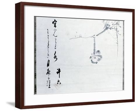 Calligraphy by Matsuo Basho, Revered as the Greatest of the Haiku Poets, with a Painting by One…--Framed Art Print