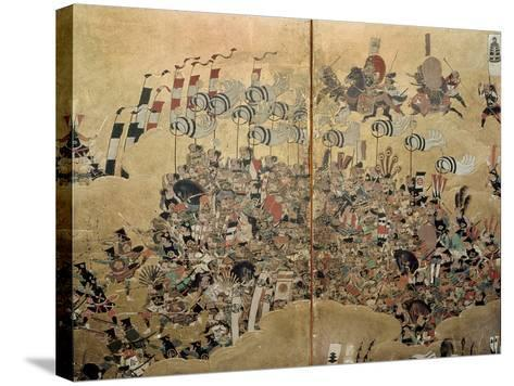 Detail of Part of a Folding Screen Which Depicts the Siege of Osaka Castle (1615)--Stretched Canvas Print