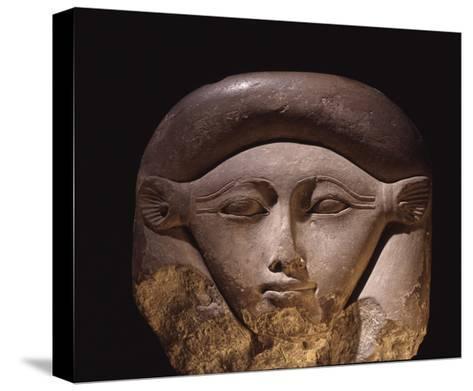 Limestone Head of the Goddess Hathor--Stretched Canvas Print