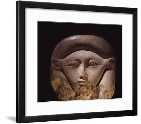 Limestone Head of the Goddess Hathor--Framed Art Print