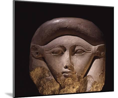 Limestone Head of the Goddess Hathor--Mounted Giclee Print