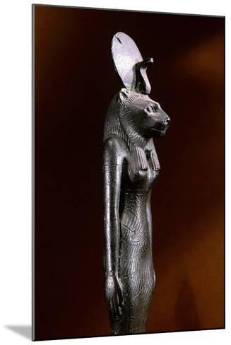 Bronze Figure of the Lion-Headed Goddess Sekhmet with Sun Disc and Uraeus--Mounted Giclee Print