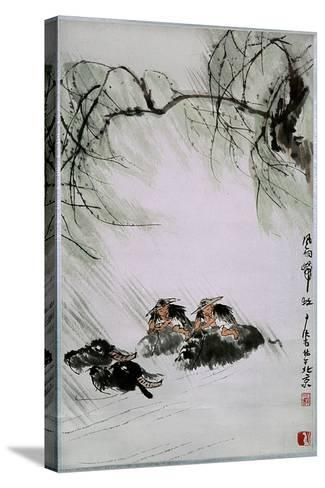 Painting by Li K'e-Jan: 'Return from the Pasture in Wind and Rain'--Stretched Canvas Print