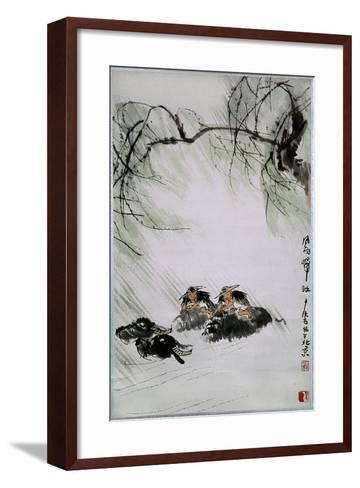 Painting by Li K'e-Jan: 'Return from the Pasture in Wind and Rain'--Framed Art Print
