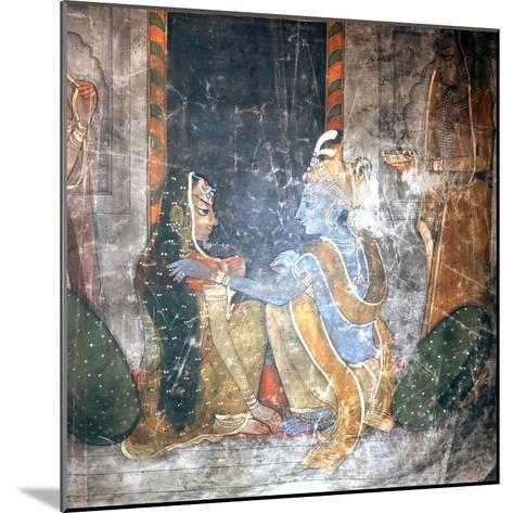 Krishna Sitting with the Gopis (Daughters of the Cowherds)--Mounted Giclee Print
