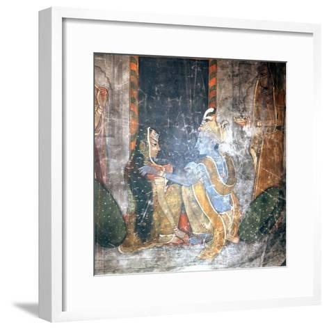 Krishna Sitting with the Gopis (Daughters of the Cowherds)--Framed Art Print