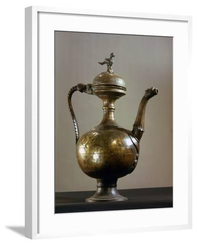 Brass Ewer with Baluster-Shaped Body, Bird Finial on Lid, Handle and Spout in the Form of a…--Framed Art Print