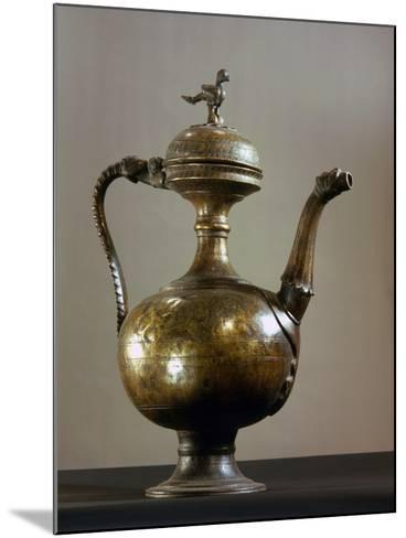 Brass Ewer with Baluster-Shaped Body, Bird Finial on Lid, Handle and Spout in the Form of a…--Mounted Giclee Print