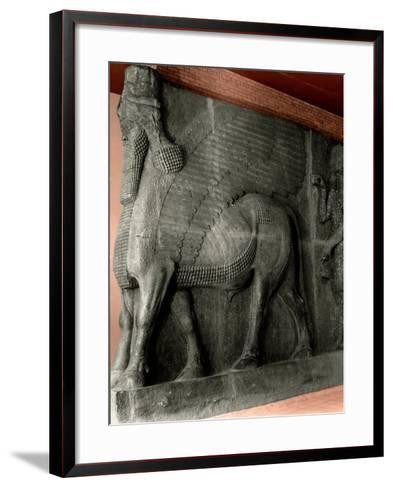 Human-Headed Winged Bull and Attendant Genie from the Palace of Sargon II at Khorsabad--Framed Art Print