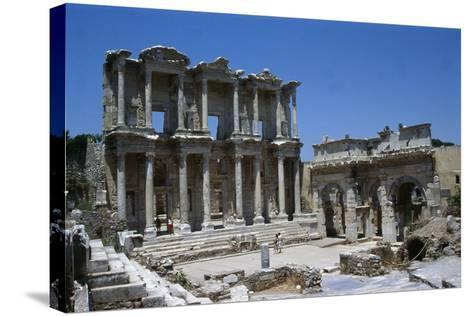 View of the Celcius Library at Ephesus, the Second Largest Library of the Ancient World after…--Stretched Canvas Print
