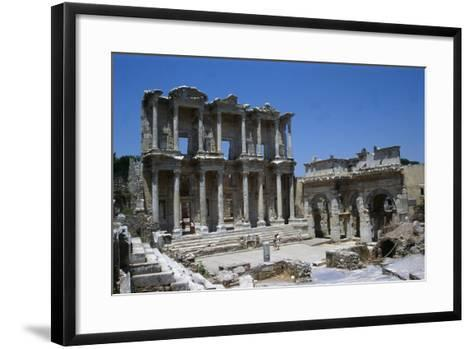 View of the Celcius Library at Ephesus, the Second Largest Library of the Ancient World after…--Framed Art Print