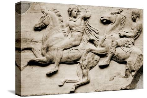 Detail of Two Galloping Riders from the West Frieze of the Parthenon--Stretched Canvas Print