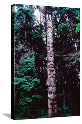 Totem Pole Belonging to the Yaadaas Clan of the Haida--Stretched Canvas Print