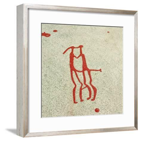 Vitlycke Is One of the Largest Surfaces of Rock Carvings in the Whole of Scandinavia--Framed Art Print