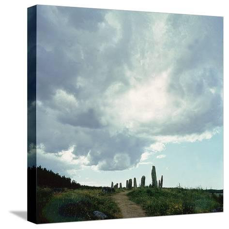 Burial Site with Stones Forming the Shape of a Ship--Stretched Canvas Print