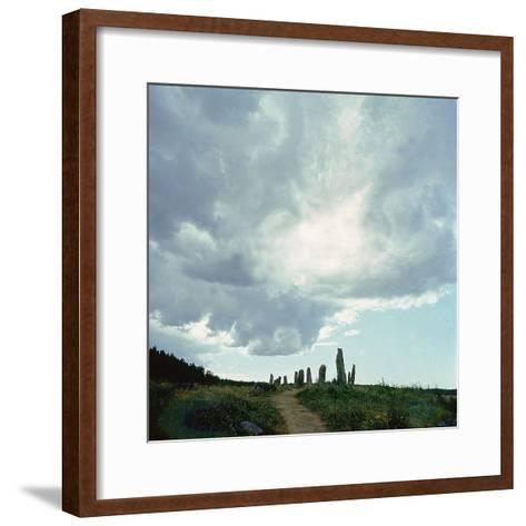 Burial Site with Stones Forming the Shape of a Ship--Framed Art Print