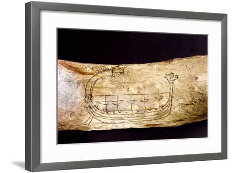 A Norse Ship Incised on a Piece of Wood--Framed Art Print