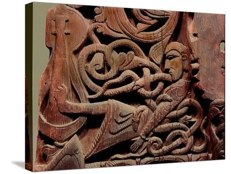 Detail of a Carving from a Stave Church Portal Illustrating the Story of Sigurd--Stretched Canvas Print