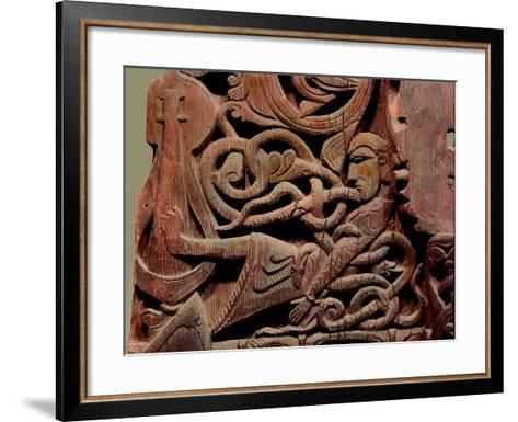 Detail of a Carving from a Stave Church Portal Illustrating the Story of Sigurd--Framed Art Print