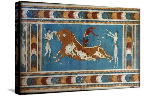 Bull Fighting Fresco, from Knossos, Painted around 1550-1450 BC--Stretched Canvas Print