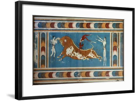 Bull Fighting Fresco, from Knossos, Painted around 1550-1450 BC--Framed Art Print