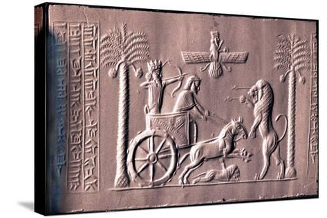 Impression of a Cylinder Seal Depicting the Great King Darius in a Chariot Hunting Lions--Stretched Canvas Print