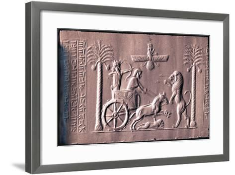 Impression of a Cylinder Seal Depicting the Great King Darius in a Chariot Hunting Lions--Framed Art Print