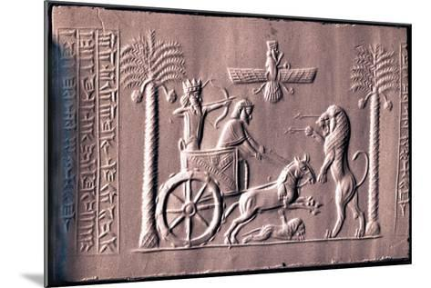Impression of a Cylinder Seal Depicting the Great King Darius in a Chariot Hunting Lions--Mounted Giclee Print