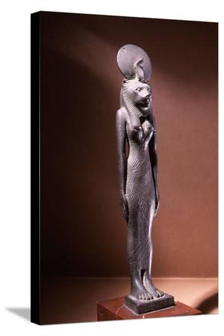 Bronze Figure of the Lion-Headed Goddess Sekhmet with Sun Disc and Uraeus--Stretched Canvas Print