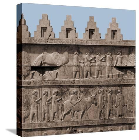 A Detail of the Reliefs on the Stairways Leading to the Audience Hall of Darius and Xerxes--Stretched Canvas Print