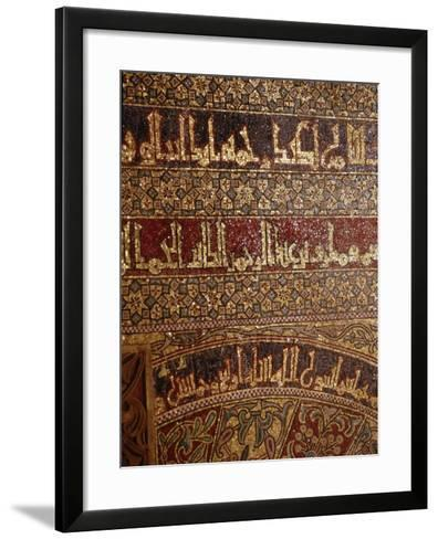 Detail of Calligraphy and Decorative Mosaics Above the Doorway to the Treasury in the Great…--Framed Art Print