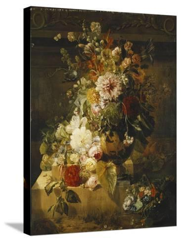 Roses, Convolvuli, Carnations, Hollyhocks, Peonies, Lilac and Other Flowers in a Vase-Georgius Jacobus Johannes van Os-Stretched Canvas Print