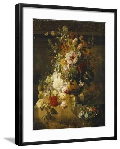 Roses, Convolvuli, Carnations, Hollyhocks, Peonies, Lilac and Other Flowers in a Vase-Georgius Jacobus Johannes van Os-Framed Art Print