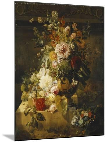 Roses, Convolvuli, Carnations, Hollyhocks, Peonies, Lilac and Other Flowers in a Vase-Georgius Jacobus Johannes van Os-Mounted Giclee Print