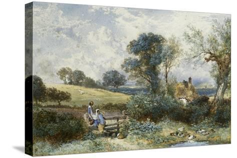By the Duck Pond-Myles Birket Foster-Stretched Canvas Print