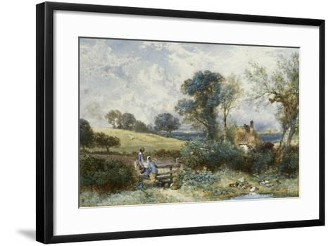 By the Duck Pond-Myles Birket Foster-Framed Art Print